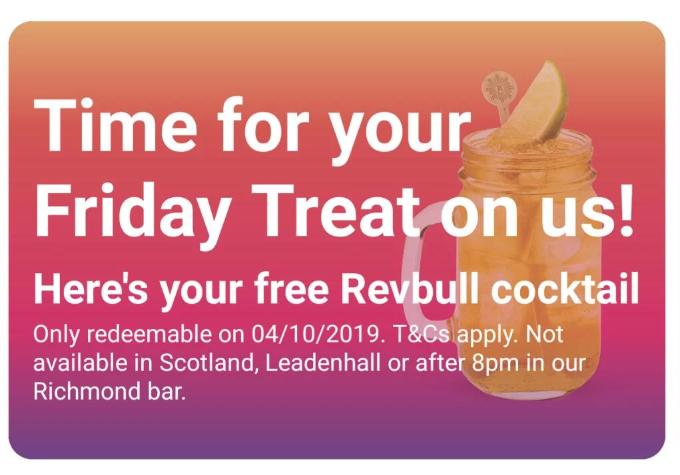 Free Revbull Cocktail via (Revolution app)