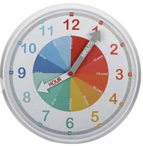 Colourful Educational Children's Wall Clock £6 @ Argos (free Click & Collect)