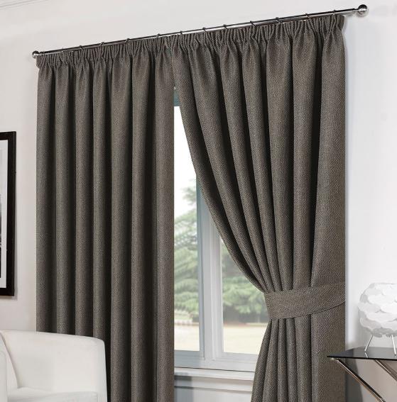 "Basket Weave tape top curtains - charcoal 46""x54"" £4.99 delivered @ Online home shop"