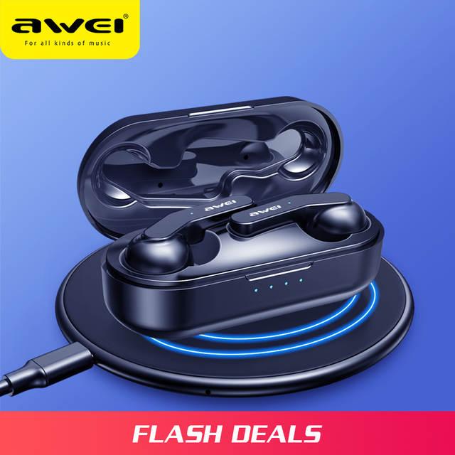 AWEI Newest TWS Mini Bluetooth V5.0 True Wireless Charging Earbuds With Mic   £17.82  AliExpress Awei Factory Store AliExpress