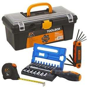 Toolbox with Tools Accessories Screwdriver Bits Allen Key Kit & 3M Tape Measure - £9.99 Delivered @ eBay - daily-deals-ltd