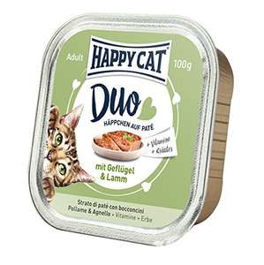 Happy Cat Duo of Chicken and Lamb Nibbles on Pate, 12x100g Cat food £4.04 Amazon add on