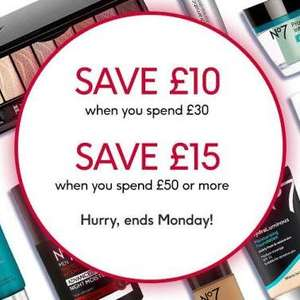 Lots of No7 is 3 for 2 and save £10 WYS £30 or save £15 WYS £50 at Boots