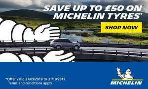 Upto £50 instant Cashback on Michelin tyres with Camskill.co.uk when buying 2 or more