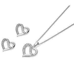 Silver Diamond Heart Necklace And Earring Gift Set £45 delivered using discount code @ F.Hinds
