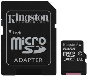 Kingston Canvas Select 64 GB Micro SDXC Memory Card Class 10 UHS-I U1 (SDCS/64GB) + SD Adapter for £6.99/128GB for £11.99 Delivered @ Base