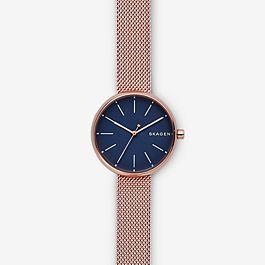 Skagen Sale: Signatur Rose Gold-Tone Steel-Mesh Watch only £48
