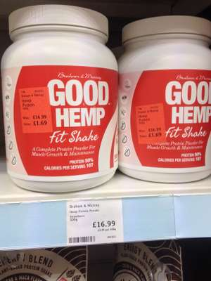 Hemp protein strawberry shake mix.  All natural. 500g. Holland and Barrett. £1.67