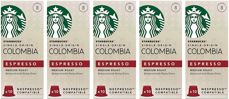 Starbucks® Colombia Nespresso®* Compatible Capsules (Pack of 5, Total 50 Pods) £9.38 @ Amazon (+£4.49 Non-prime)