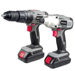 Wickes 18V Li-Ion 1.3Ah Cordless Hammer Drill & Impact Driver Twin Kitfor £75 @ Wickes + FREE C&C or Next Day Delivery