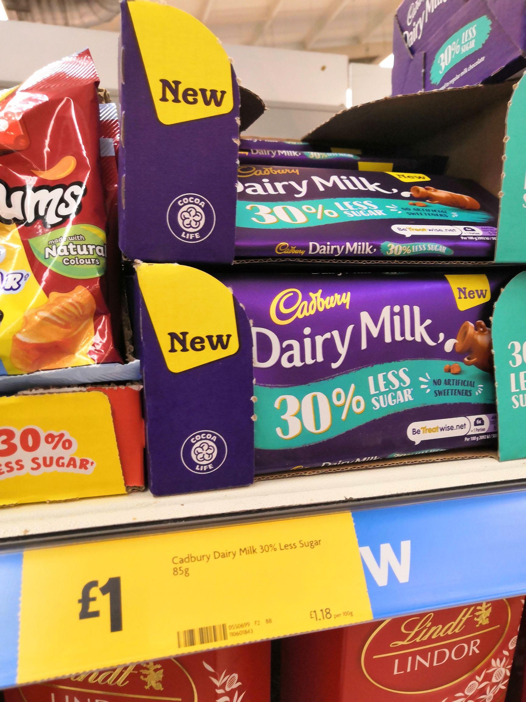 Cadbury Dairy Milk 30% Less Sugar 85g £1 @ Morrisons instore