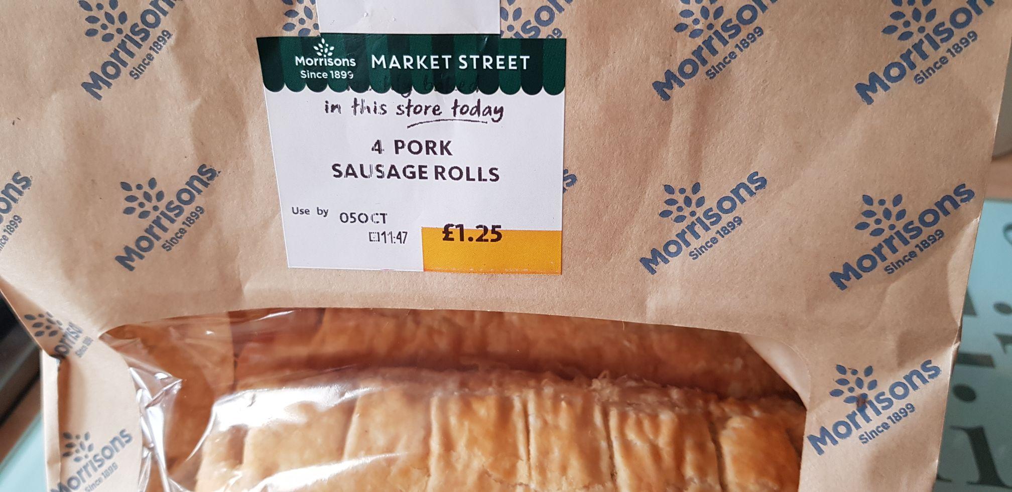 Morrisons pork sausage rolls 4 pack £1.25 instore (Widnes store)