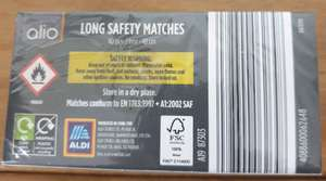 Long safety matches 9p instore at Aldi Milton Keynes