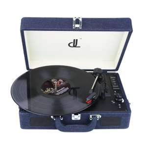 Record Player of dl Potable Wooden Suitcase Vinyl Turntable Supports USB+SD Recorder, Headphone Jack, RCA, Aux Input £25.89 @ Amazon