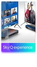 Sky Q experience  Watch everything from your main box on TVs and tablets around your home with 2 Sky Q Mini boxes £5 Upfront fee £1193 18m