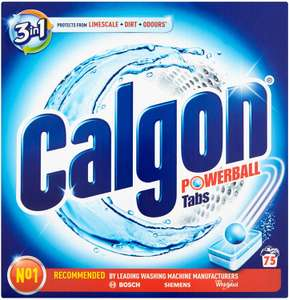 Calgon 3-in-1 Washing Machine Water Softener Tablets, 75 Tabs at Amazon for £13.50 Prime / £17.99 non prime