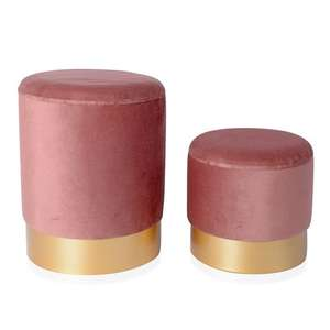 Set of 2 Wooden Stool with Storage Box Pink Colour at The Jewellery Channel for £29.99 delivered