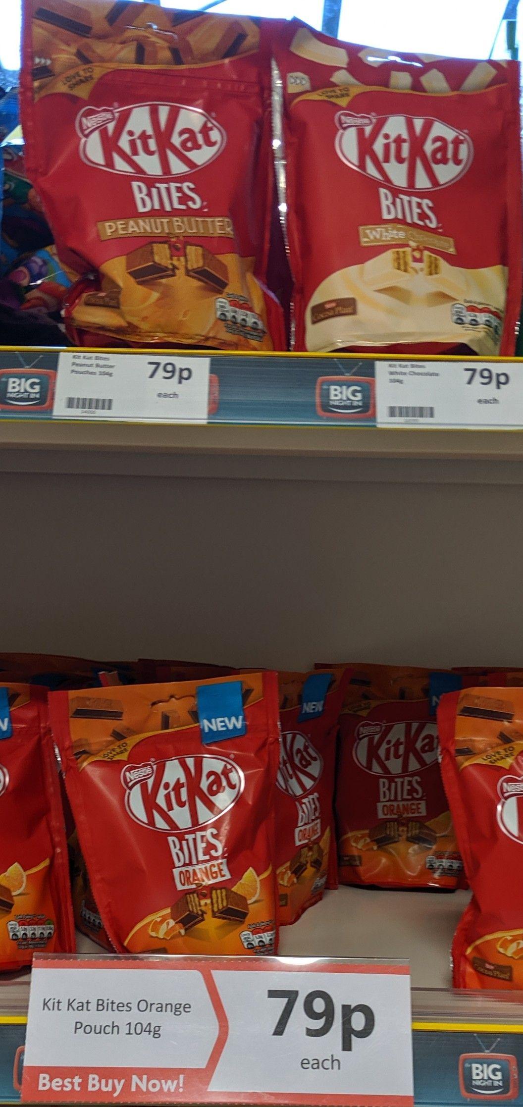 Kit Kat Bites Orange, Peanut Butter & White 104g bags 79p each @ Heron Foods Bury