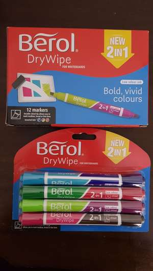 Berol 2-in-1 Drywipe Whiteboard Markers - 99p @Home Bargains (Leeds)