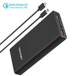 TeckNet USB-C Power Delivery, QC 3.0 Portable Charger 20000mAH USB Power Bank for £19.54 Prime / +£4.49 NP. Sold by BLUETREE & FBA