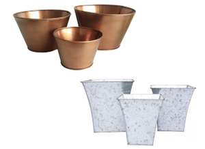 Set of 3 Copper Planters or Set of 3 Galvanised Iron Garden Planters for £11.28 @ Homebase (instore)