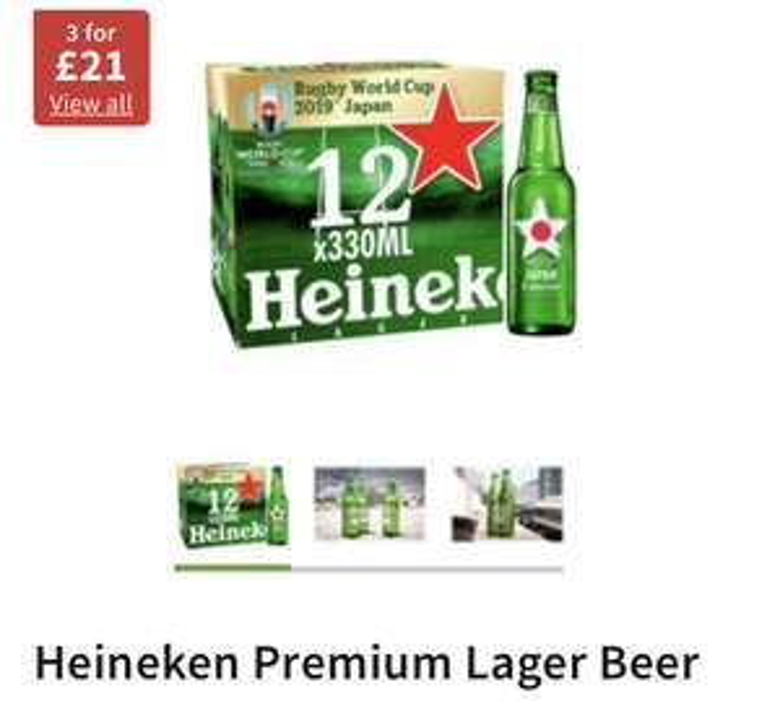 Deal back on; Heineken Lager Beer 12x330ml bottles 3 for £21 (£7 a case) Asda