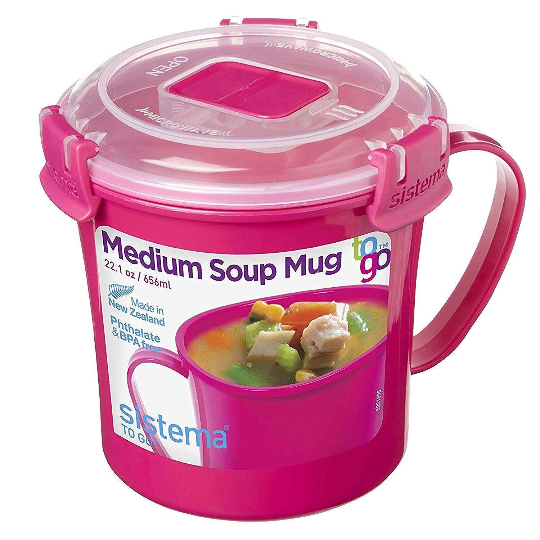 Sistema Microwave Soup Mug, 656 ml - Pink now £3 add-on item at Amazon