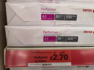 Xerox A3 80GSM 500 sheets printing paper Instore was £9 reduced to £2.70 @ Sainsburys (Wakefield)