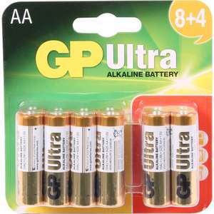 GP Ultra Alkaline Battery AA 12 Pack: £2.99 Free Click & Collect @ Toolstation