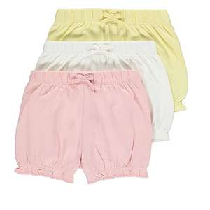Pink Assorted Ruffled Hem Shorts 3 pack £1 @ George (Free Click and Collect) 5 pack available for £2 more in thread