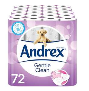 Andrex Gentle Clean Toilet Tissue, 72 Rolls for £27 / £21.60 using 15% off first subscribe and save voucher @ Amazon