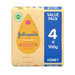 JOHNSON'S Baby Honey Soap 100g 4 pack now £1 Add On Item at Amazon