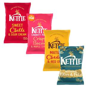150g bags of Kettle Chips £1 Each - Includes Olive & Feta 135G & Other Flavours @ Tesco