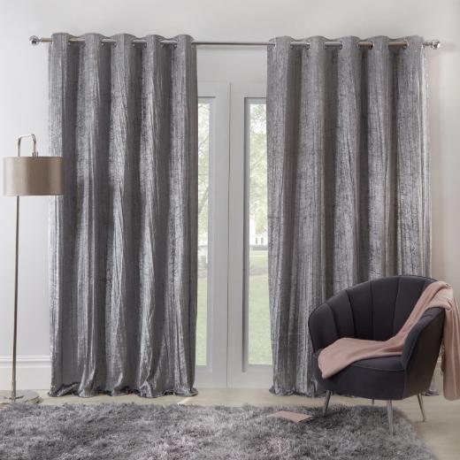 Sienna Home Valencia Crinkle Crushed Velvet Eyelet Curtains From £16.98 Delivered @ OnlineHomeShop