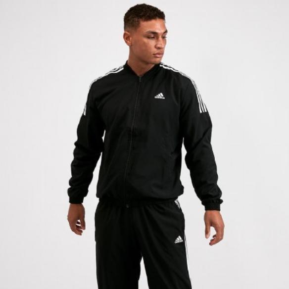 Mens Adidas Light Three Stripe Woven Tracksuit | Black / White £39.99 + Free Click & Collect @ FootAsylum