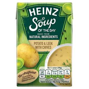 Tesco-Heinz Soup of the Day 400g-Chicken, Parsnip & Rosemary £0.62 was £1.55/Potato & Leek with Chives £0.73 was £1.55-Instore Tesco Fulham
