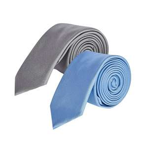 Burton - 2 Pack Plain Grey and Blue Tie Set £2.40 / 2 Pack Navy and Black Set £4 delivered with code @ Debenhams