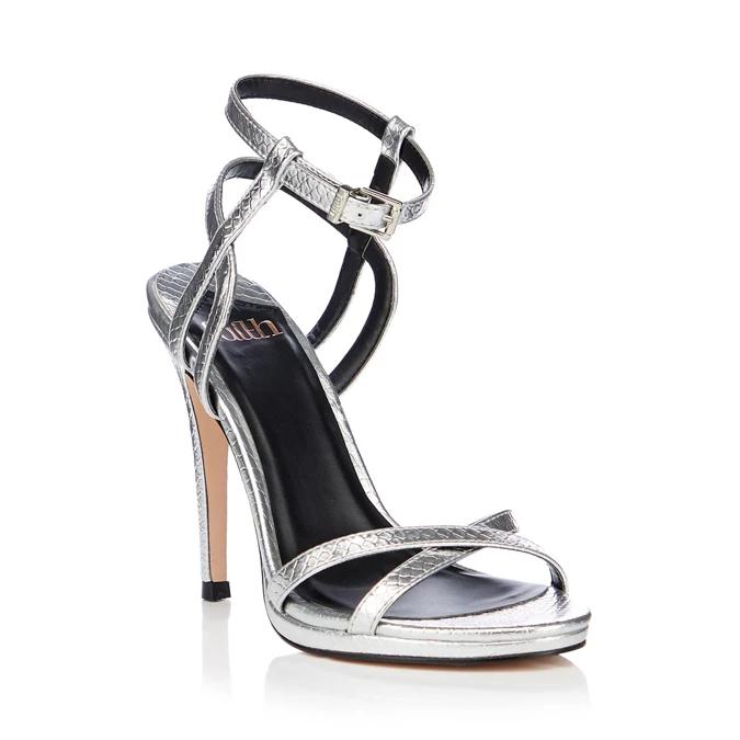 Faith Silver Snake Effect Lucky High Stiletto Heel Sandals Size 4/5/6/7 £13.23 @ Debenhams - Code SH4J Free Delivery