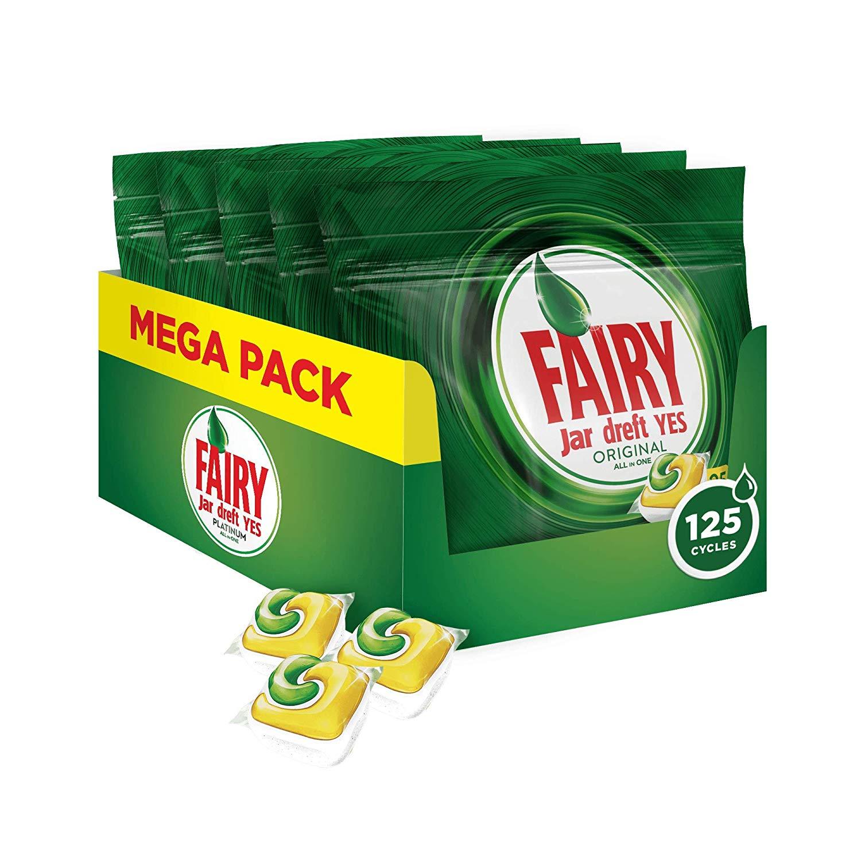 Fairy Original All-In-One Dishwasher Tablets Bulk Lemon, 125 Tablets - £10.23 (Prime) £14.72 (Non-Prime) @ Amazon