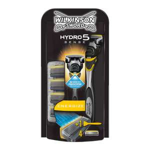 Wilkinson's Sword Hydro Sense 5 razor with 4 blades £10 / £14.49 nonPrime / £7.50 S&S and 20% off coupon @ amazon