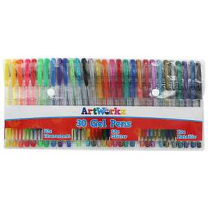 ArtWorkz Gel Pens - Pack Of 30 £4 @ The Works  click and collect