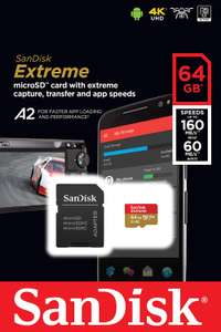 SanDisk Extreme 64 GB microSDXC Memory Card + SD Adapter with A2 App Performance - £11.99 (Prime) £16.48 (Non Prime) @ Amazon