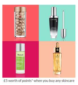 500 free Debenhams Beauty Card points when you spend £5 on skincare (online and in store)