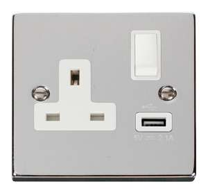 Scolmore VPCH771WH - 13A 1G Switched Socket With 2.1A USB Outlet - White £3 @ Sparks Warehouse