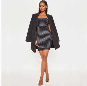 Black Striped Mesh Strappy Bodycon Dress £12.00 + Free Next Day Delivery with code @ PrettyLittleThing (more in thread)