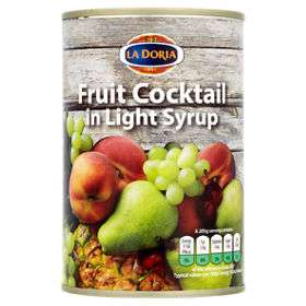 Tins of La Doria Fruit Cocktail in Light Syrup in Asda Romford - 18p