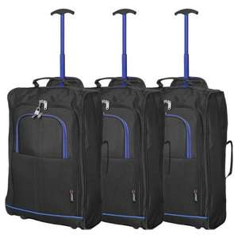 5 Cities (55x35x20cm) Lightweight Cabin Hand Luggage Set (Black & Blue x3) £20.24 @ Travelluggagecabinbags