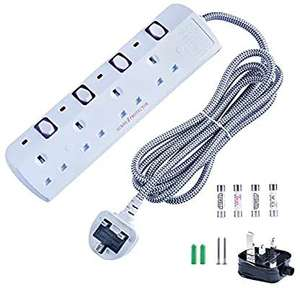 4 Gang White Surge Protected Extension Lead Individual lead, £8.99 (Prime) / £13.48 (nonPrime) Sold by anhoyo stores & Fulfilled by Amazon.