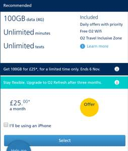 O2 Sim Only 100GB, unlimited minutes and texts £25/m (possible £20/m via Quidco cashback)