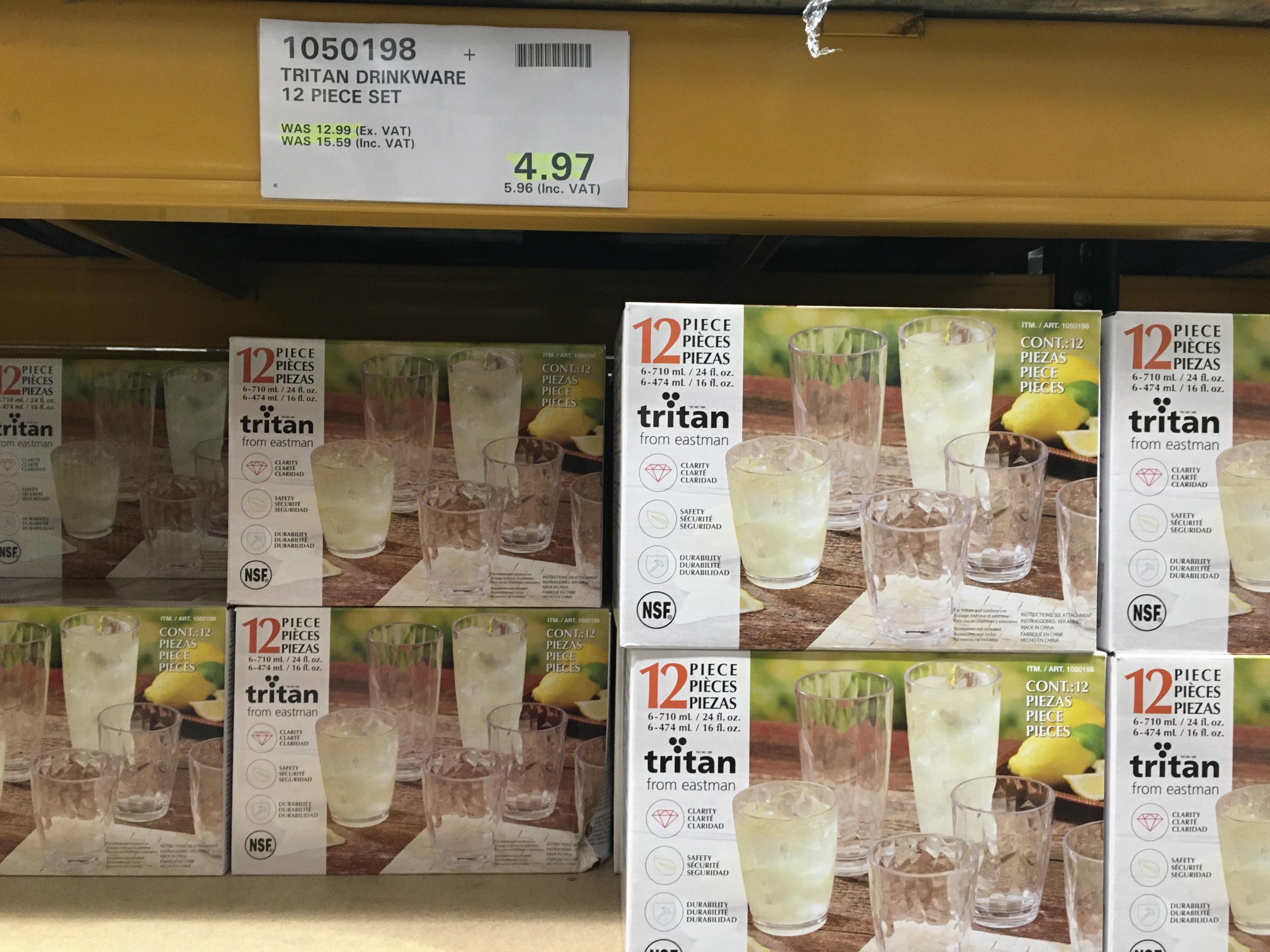 12 Glasses was 15.59 pus VAT now 4.97 plus VAT @ Costco (Bristol)